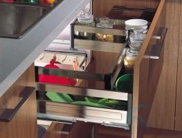 Phụ kiện ngăn kéo tủ bếp NE080380E bằng inox giảm chấn 800mm