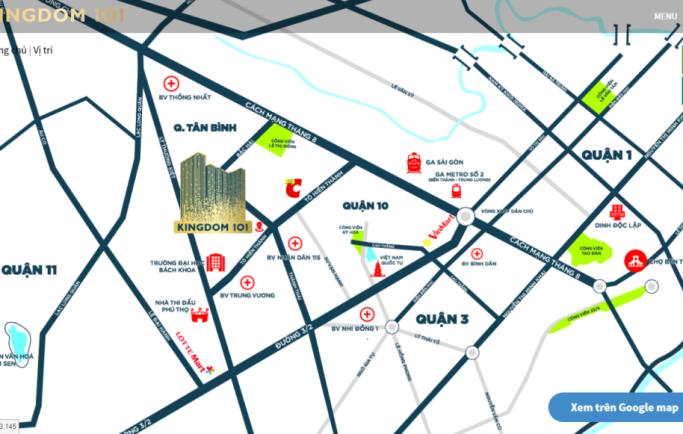 Vị trí căn hộ Kingdom 101 Tô Hiến Thành trung tâm quận 10 như thế nào?